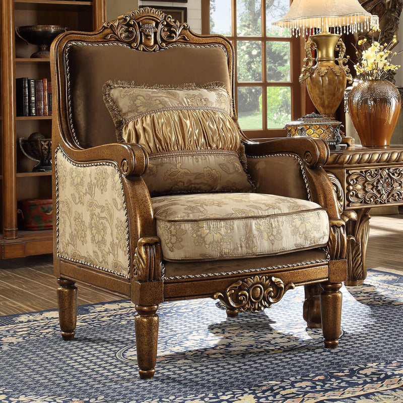 Fabric Accent Chair in Metallic Antique Gold Finish C610 European Victorian