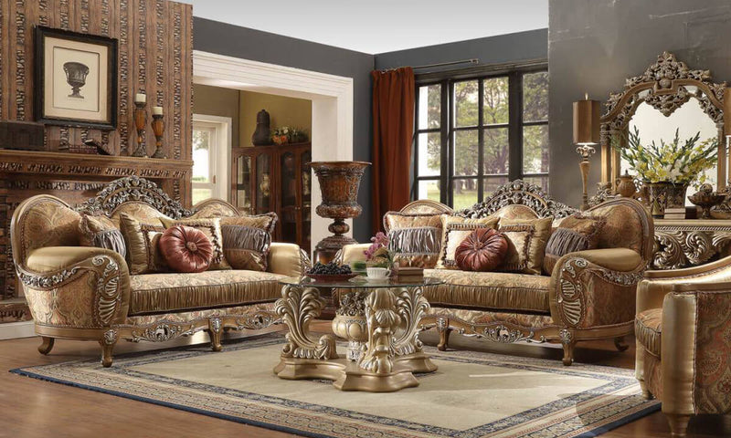 Fabric 3 PC Sofa Set in Light Maple Finish 622-SSET3 European Traditional Victorian
