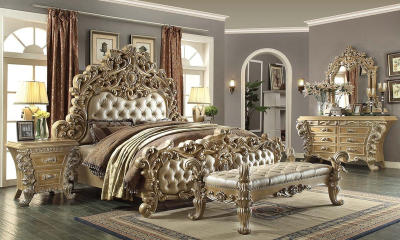 Leather E King 5 PC Bedroom Set in Frost & Antique Silver Finish EK7012-5PC