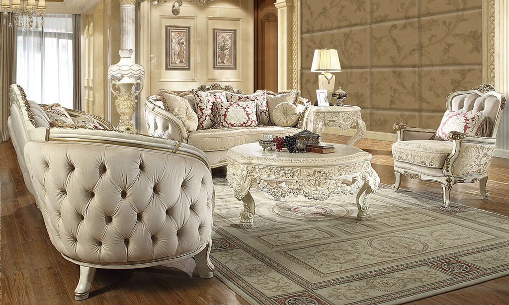 Fabric 3 PC Sofa Set in Silvery White Cream Finish 7310-SSET3 European Victorian