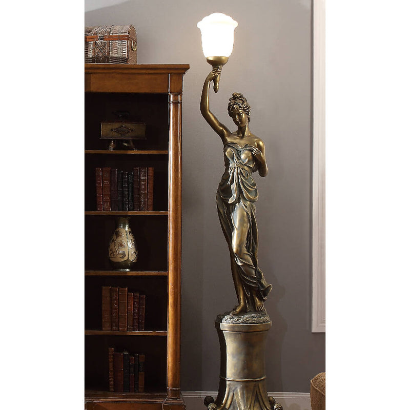 Left Facing Greek Statue Floor Lamp in Antique Gold Finish 7919B European Victorian