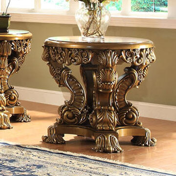 End Table in Metallic Antique Gold & Brown Finish E8008 European Victorian