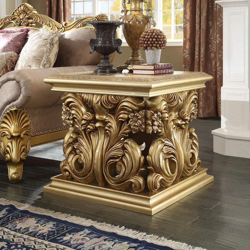 End Table in Metallic Bright Gold Finish E8016 European Traditional Victorian