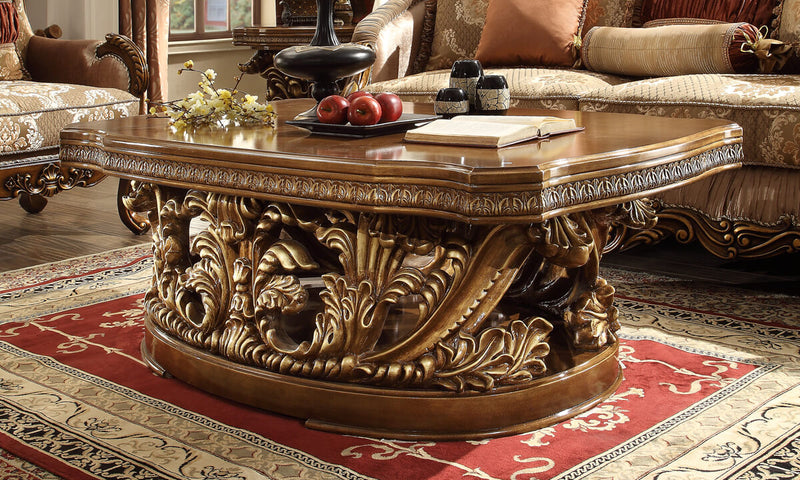 3 PC Coffee Table Set in Metallic Antique Gold & Brown Finish 8018-CTSET3 European