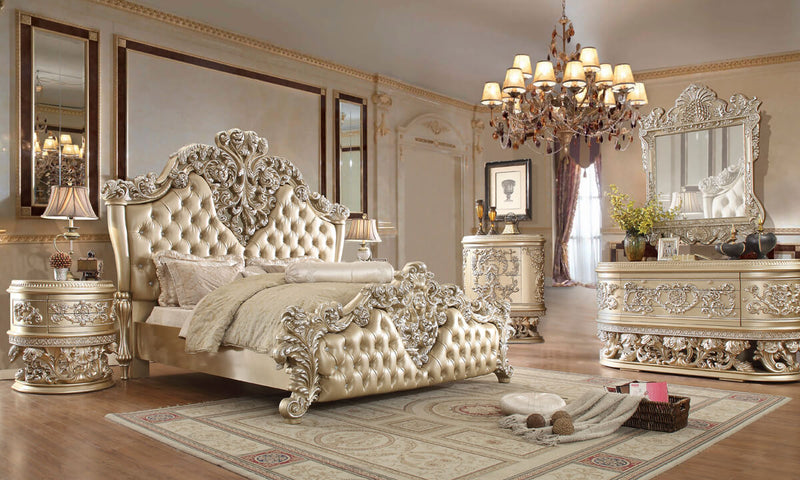 Leather Cal King 5 PC Bedroom Set in Belle Silver Finish 8022-BSET5-CK European