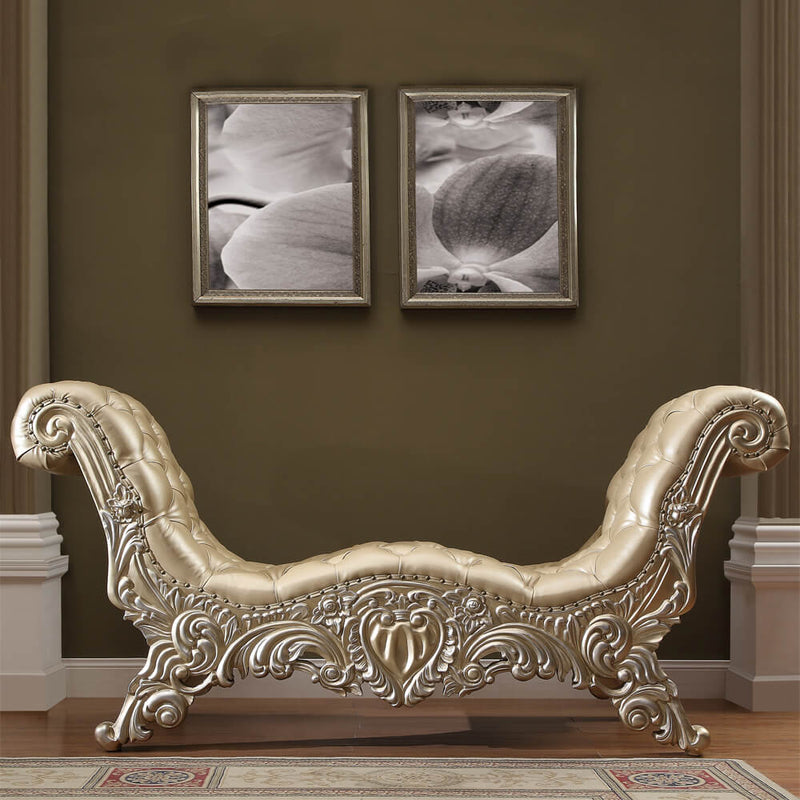 Leather Bed Bench in Belle Silver Finish BEN8022 European Traditional Victorian