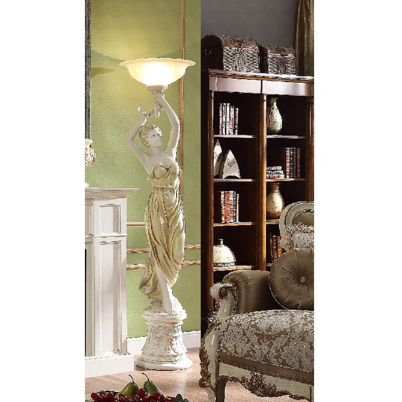 Right Facing Grecian Statue Floor Lamp in Antique White & Tan Finish 8023 European