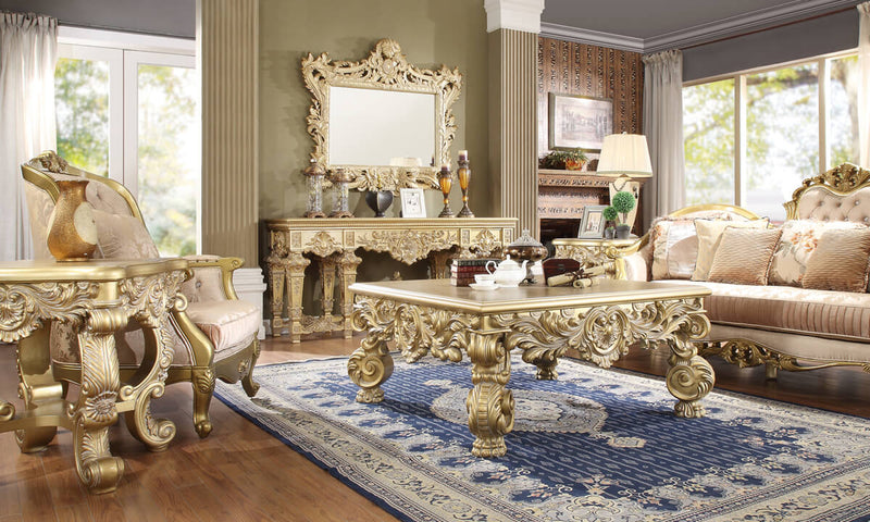 3 PC Coffee Table Set in Metallic Bright Gold Finish 8086-CTSET3 European Victorian