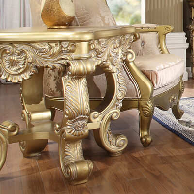 End Table in Metallic Bright Gold Finish E8086 European Traditional Victorian