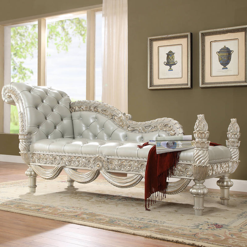 Leather Bed Bench in Metallic Silver Finish BEN8088 European Traditional Victorian