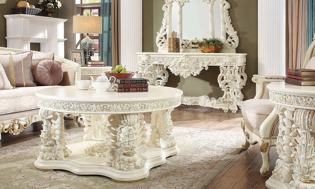 3 PC Coffee Table Set in White Gloss Finish 8089-CTSET3 European Victorian