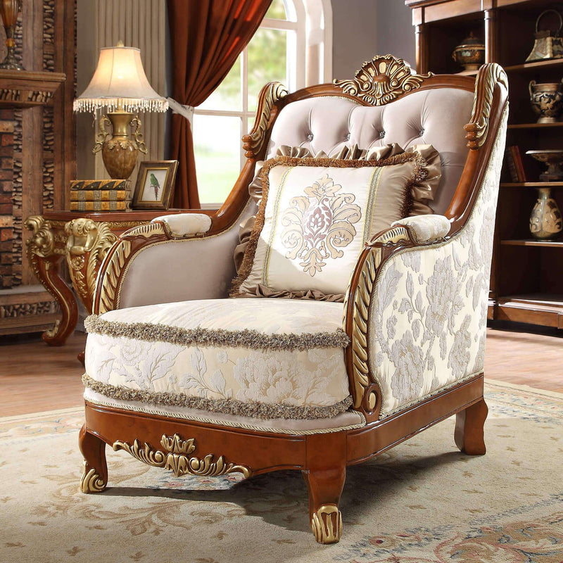Fabric 3 PC Sofa Set in Metallic Bright Gold Finish 814-SSET3 European Victorian