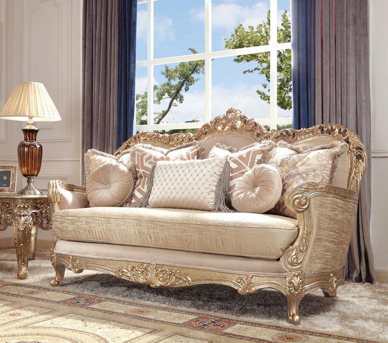 Fabric Loveseat in Antique Gold with Silver Champagne Finish L8925 European