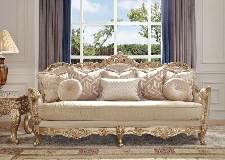 Fabric Sofa in Metallic Antique Gold with Silver Champagne Finish SC8925 European
