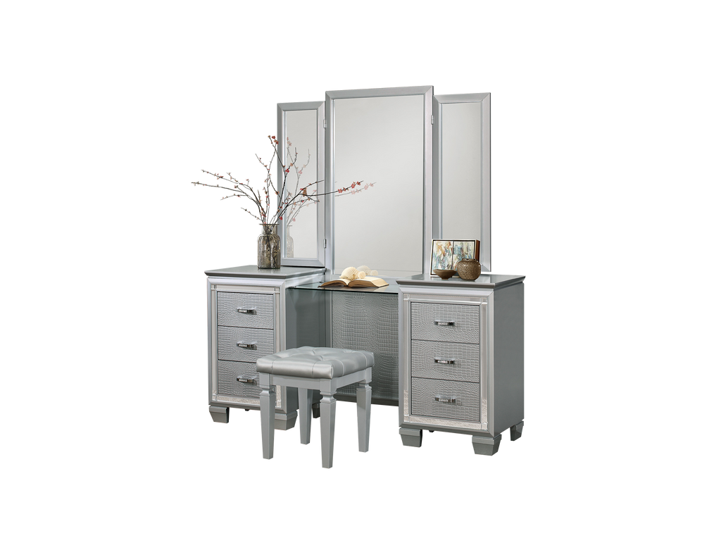 Almada Vanity Dresser Mirror in Silver Alligator Embossed