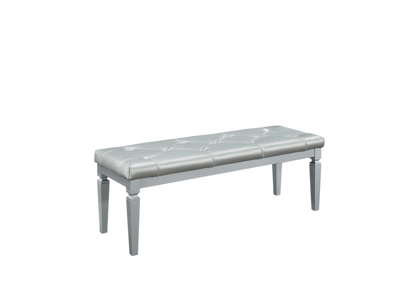 Almada Bed Bench in Silver Alligator Embossed