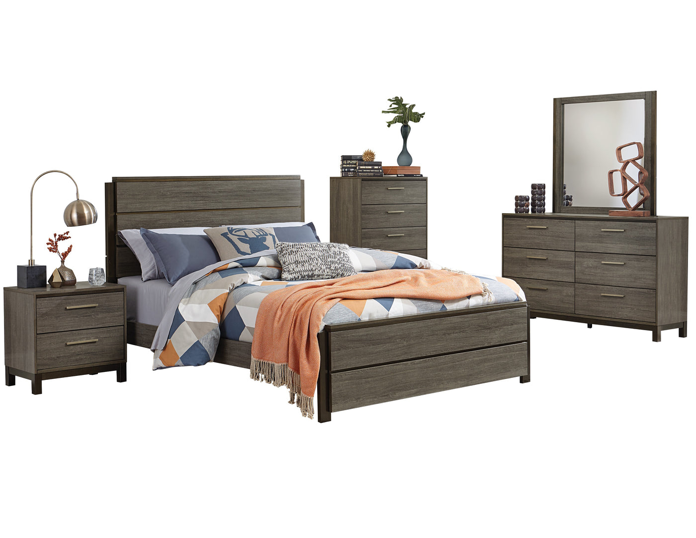 Volos 5pc Bedroom Set Queen Bed Dresser Mirror Nightstand Chest In Mid Modern Grey