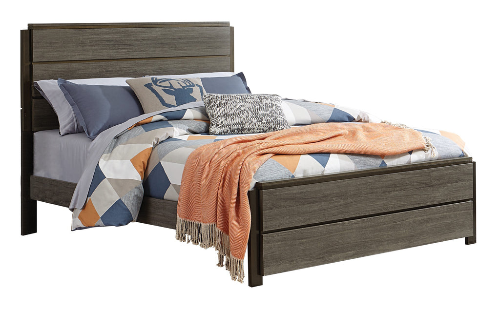 Volos Cal King Bed in Mid Modern Grey