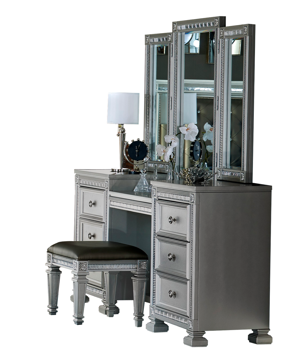 Homelegance Bevelle Vanity Mirror Set in Metallic Grey