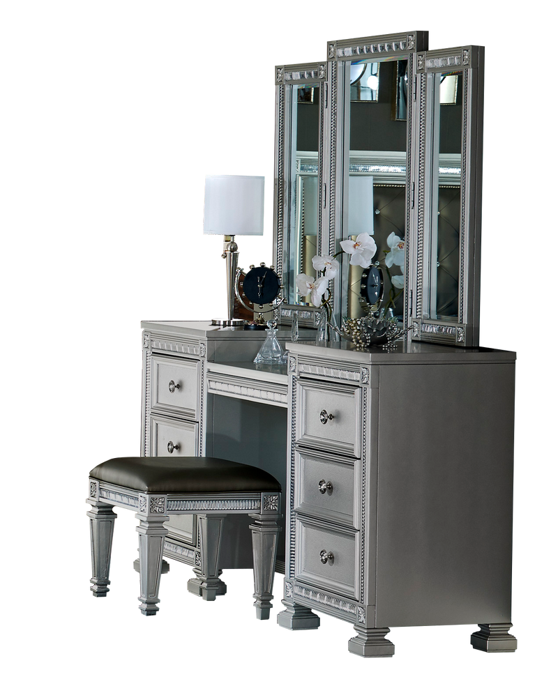 Homelegance Bevelle Vanity Mirror Stool Set in Metallic Grey