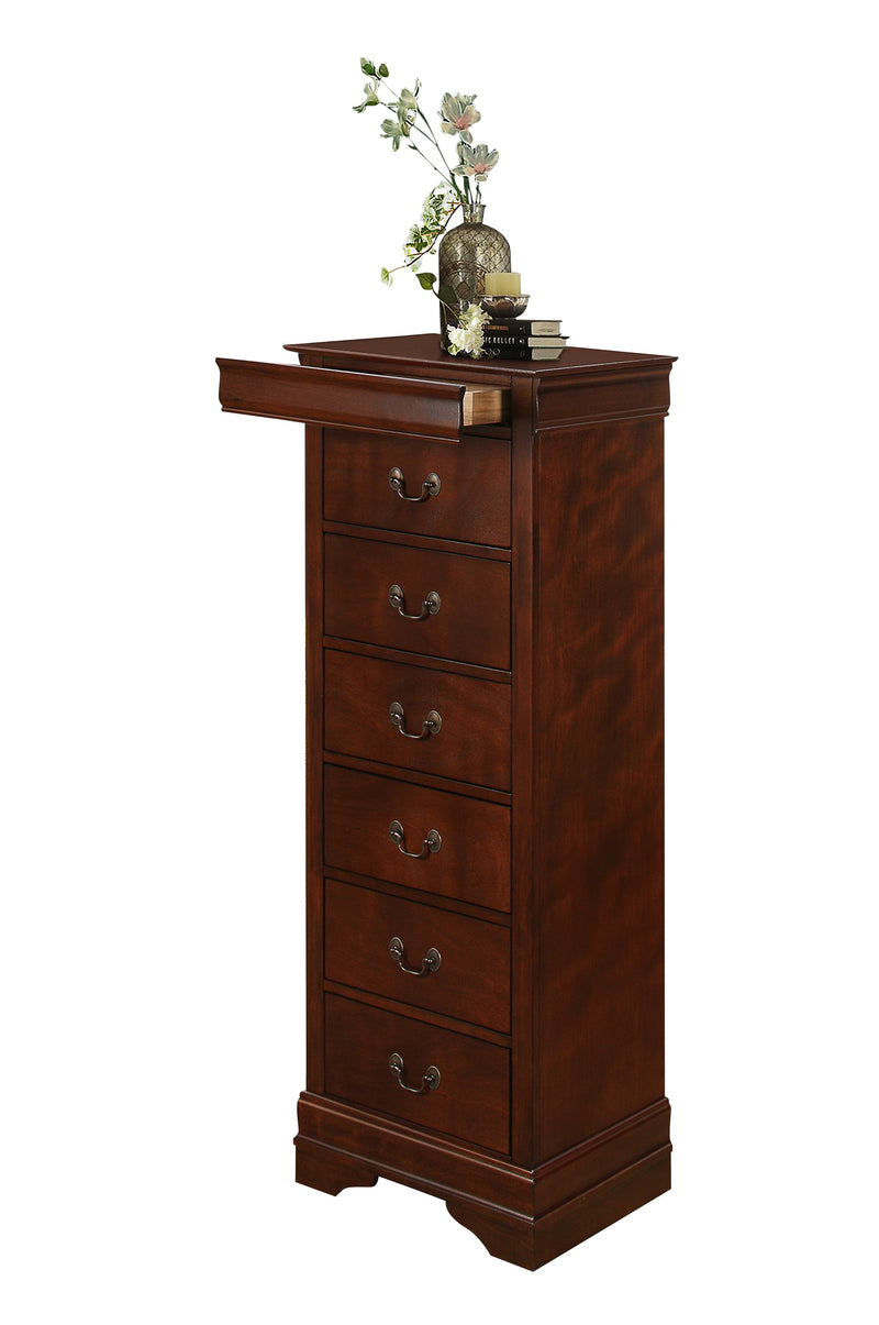 Manburg Louis Philippe Lingerie Chest with Hidden Drawer in Burnish Cherry