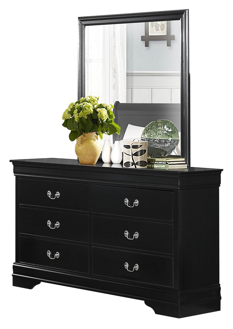 Manburg Louis Philippe 4PC Bedroom Set Queen Sleigh Bed, Dresser, Mirror, Nightstand in Burnished Black