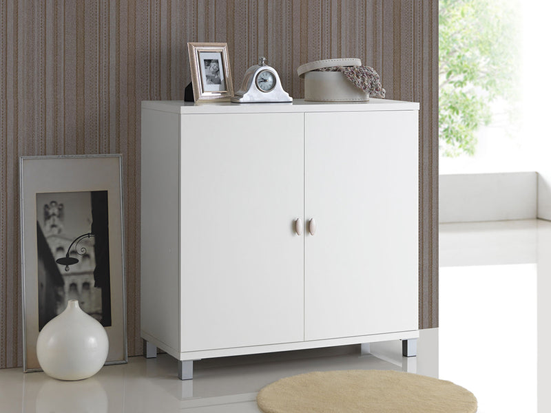 Contemporary Entryway Shoe & Bag Cabinet in White