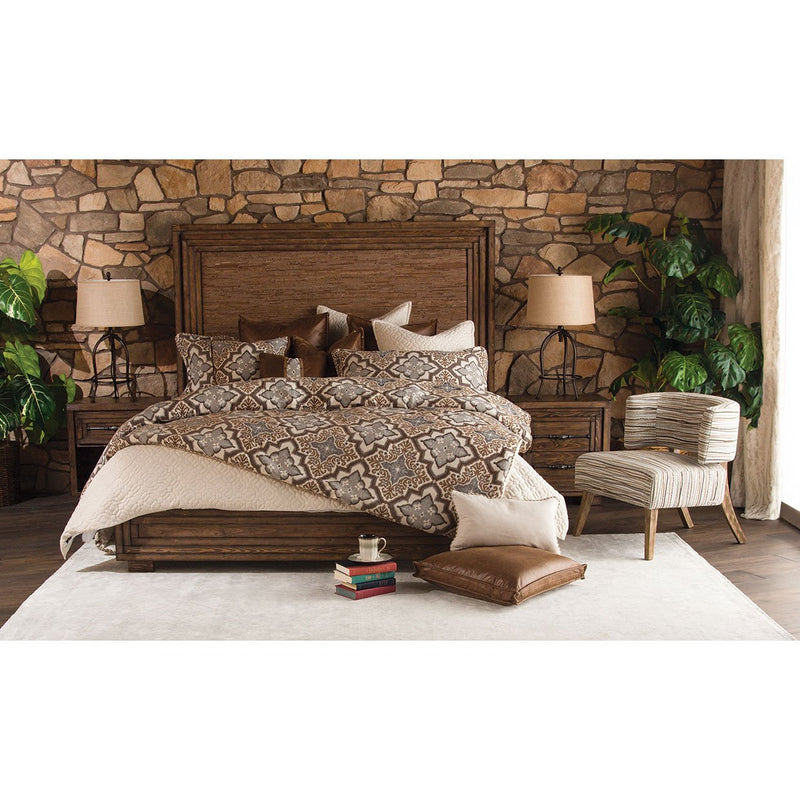 Aico Amini Carrollton 5 PC E King Panel Bedroom Set w 2 Nightstand in Rustic Ranch