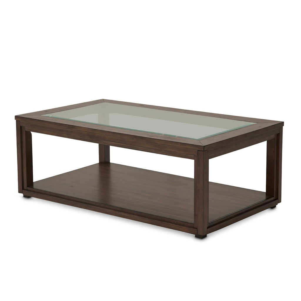 Aico Amini Carrollton Rectangular Cocktail Table in Rustic Ranch