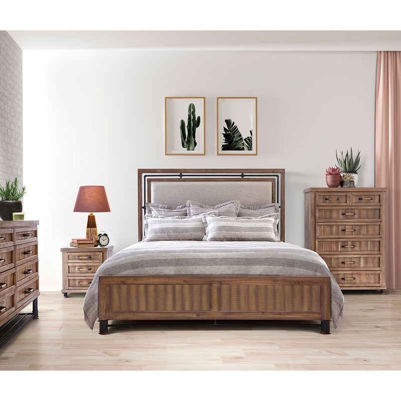 Aico Amini Crossings 6 PC Cal King Panel Bedroom Set in Reclaimed Barn
