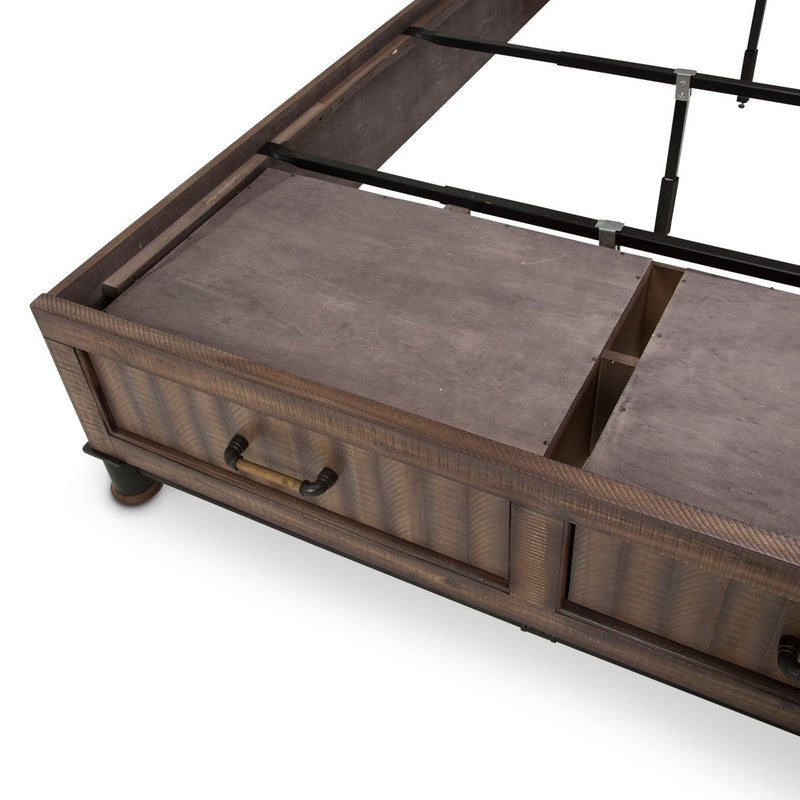 Aico Amini Crossings Queen Panel Bed /w Drawers in Reclaimed Barn