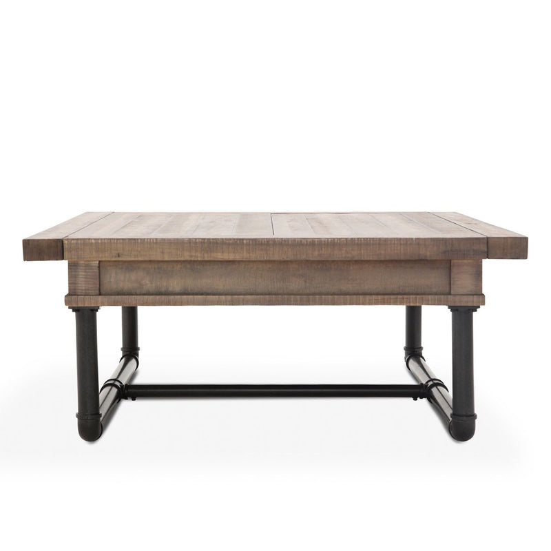 Aico Amini Crossings Square Cocktail Table w Storage in Reclaimed Barn