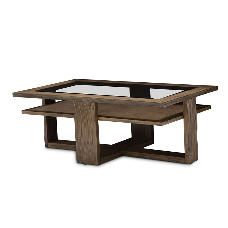 Aico Amini Del Mar Sound Rectangular Cocktail Table in Boardwalk