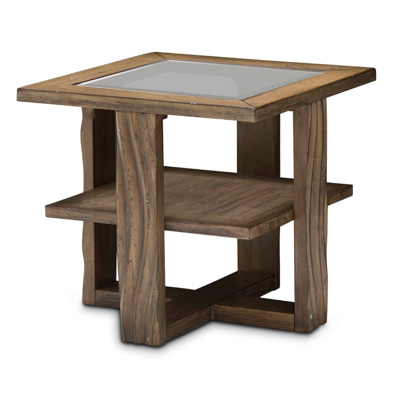 Aico Amini Del Mar Sound 3 PC Square Cocktail & 2 End Table Set in Reclaimed Barn