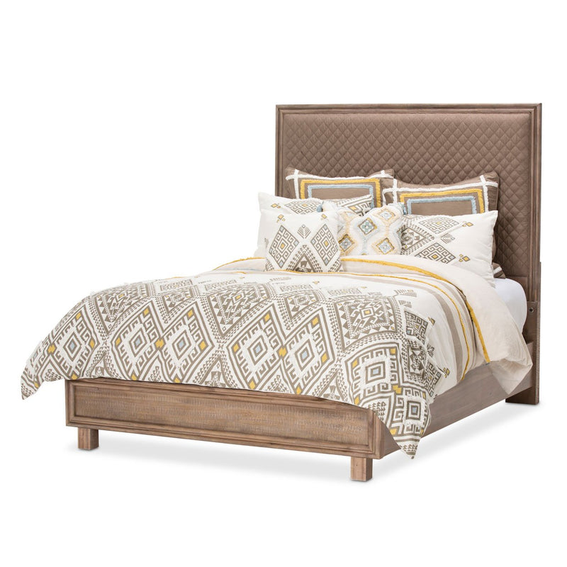 Aico Amini Hudson Ferry Queen Diamond-Quilted Brown Fabric Panel Bed in Driftwood