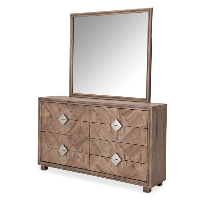 Aico Amini Hudson Ferry 2 PC Dresser & Mirror Set in Driftwood