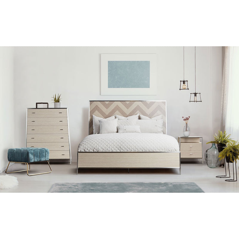 Aico Amini Silverlake Village 4 PC Queen Panel Bedroom Set in Washed Oak