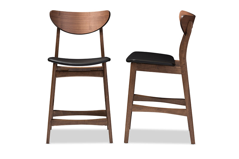 Mid-Century Modern 2 Counter Stools in Black Faux Leather