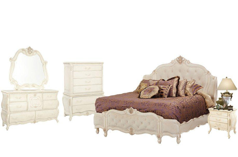 Aico Amini Lavelle 5Pc Bedroom Set Queen Wing Mansion Bed Dresser Mirror One Nightstand Chest in Blanc