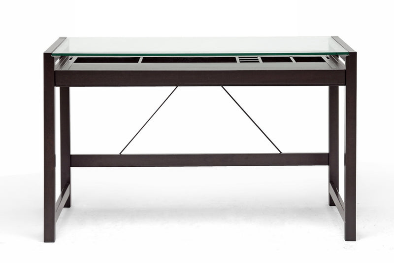 Modern Tempered Glass Top Desk in Dark Brown