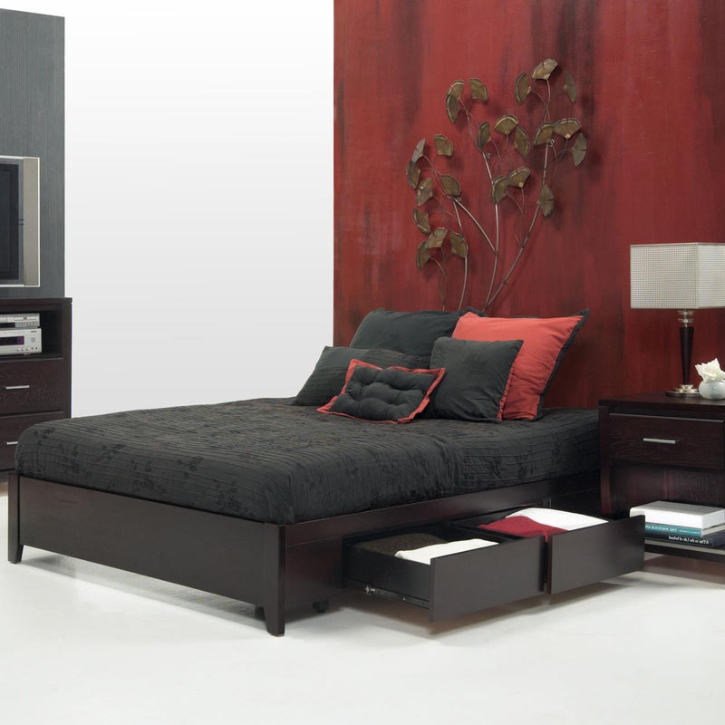 Napier 4 Piece Eastern King Simple Platform Storage Bedroom Set in Espresso by Mfix Furniture