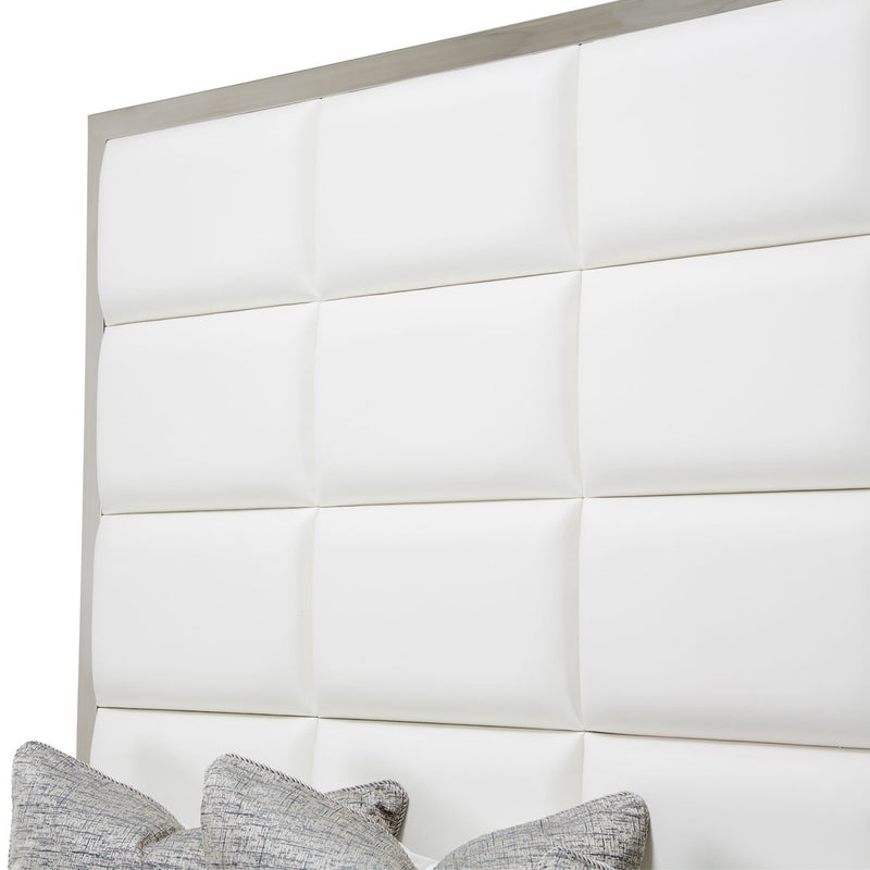 Aico Amini State St 4 PC E King Metal Panel Bedroom Set in Glossy White