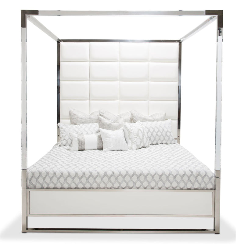 Aico Amini State St 5 PC E King Metal Canopy Bedroom Set w Chest in Glossy White
