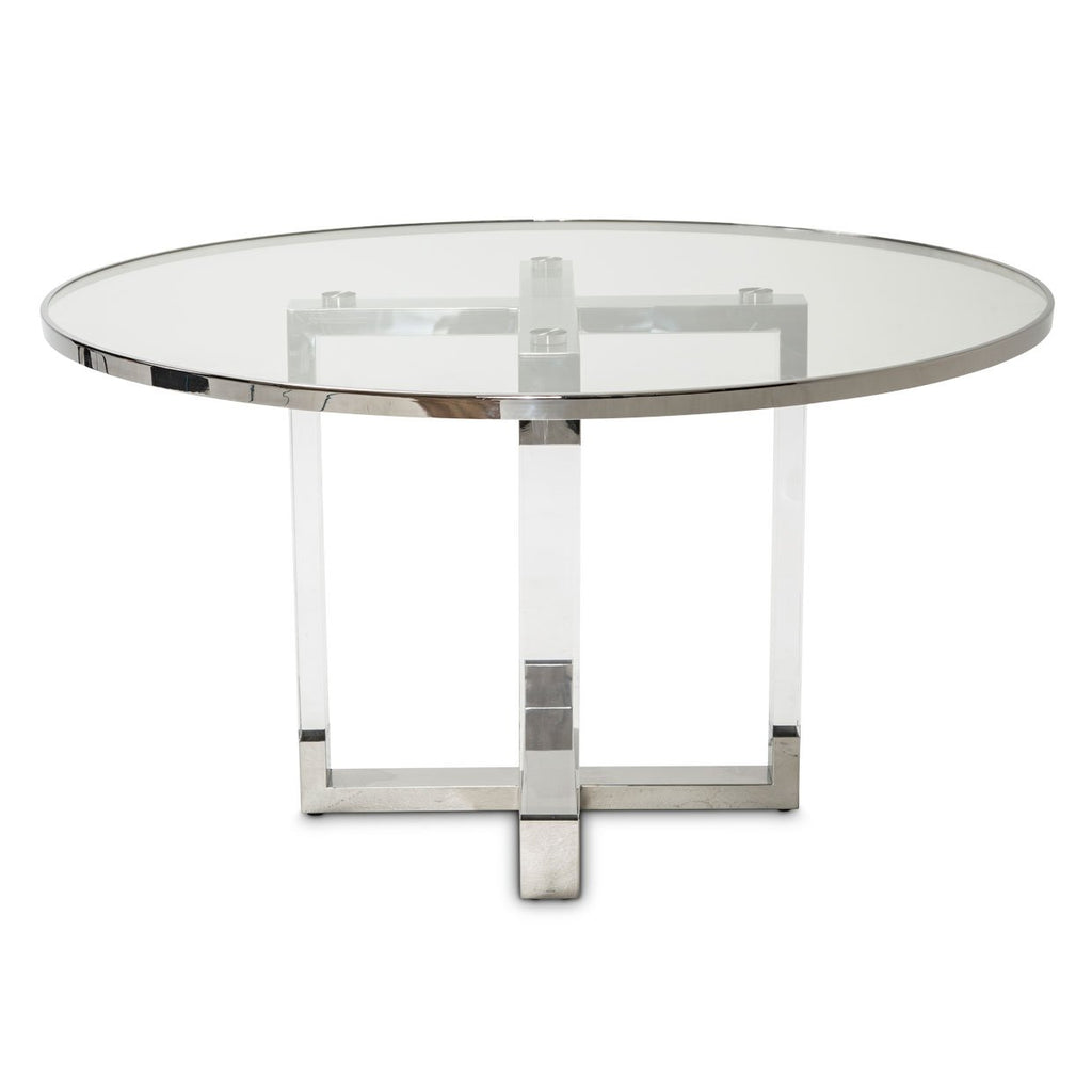 Aico Amini State St 7 PC Round Dining Set in Stainless Steel