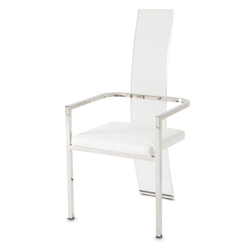 Aico Amini State St 2 Arm Chair in Glossy White