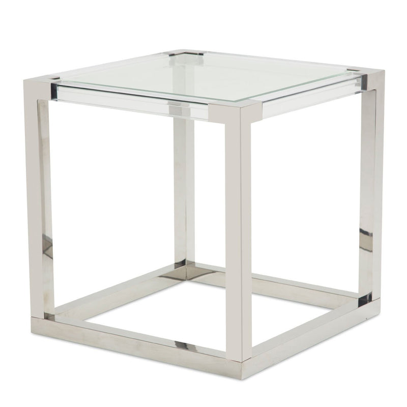 Aico Amini State St Square End Table in Stainless Steel
