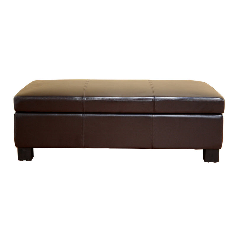Contemporary Storage Ottoman in Dark Brown Leather