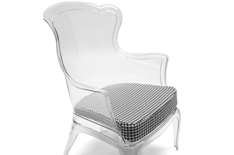 Contemporary Accent Chair in Clear/Dark Grey Molded Plastic - The Furniture Space.