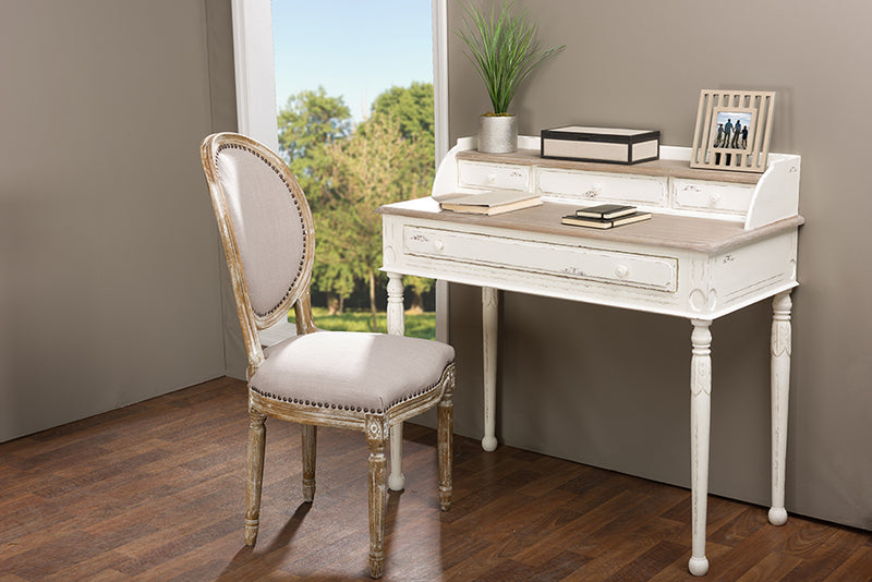 Traditional French Writing Desk in White/Light Brown
