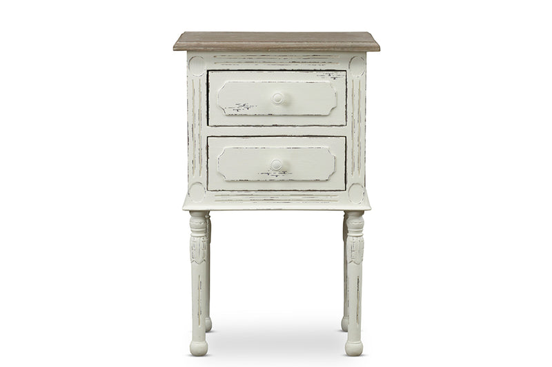 Traditional French Nightstand in White/Light Brown